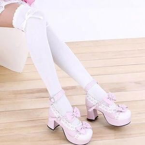 Accessories - White Over the Knee Knit Fashion Stockings w/Ties